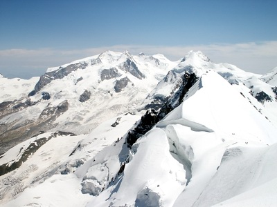 Monte Rosa group from Breithorn Occidentale summit (4165 m.), Wallis Alps, July 2004