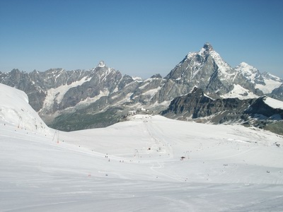 A view from Breithorn Pass (about 3700 m.) on Plateau Rosa, Matterhorn on the right, Wallis Alps, July 2004