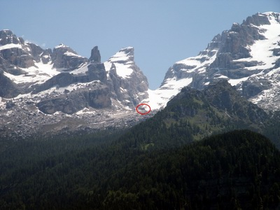 The same shelter from long distance (in the red circle), Gruppo di Brenta, July 2004